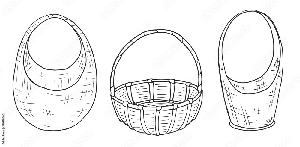 Fototapety, obrazy: Sketches wicker baskets of different shapes. Freehand drawing with a marker. Sketch. Vector
