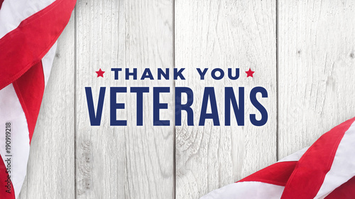 Fotografía Thank You Veterans Text with American Flag Over White Wood Background for Memori