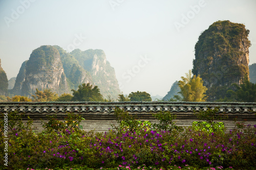 Foto op Canvas Guilin Karst hills in Yangshuo, southern China mountain landscape.