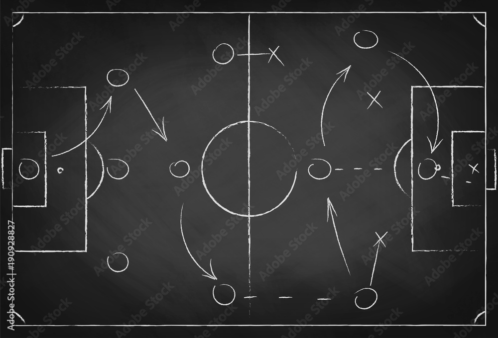 Fototapeta Soccer tactic scheme on chalkboard. Football team strategy for the game. Hand drawn soccer field background
