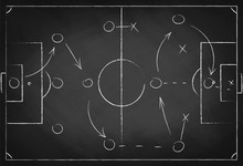 Soccer Tactic Scheme On Chalkb...