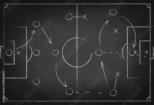 Soccer tactic scheme on chalkboard. Football team strategy for the game. Hand drawn soccer field background