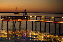 A Dunedin, Florida Pier Lit With Chrismas Lights And A Christmas Tree At Sunset With A Sailboat Cruising By In The Background.