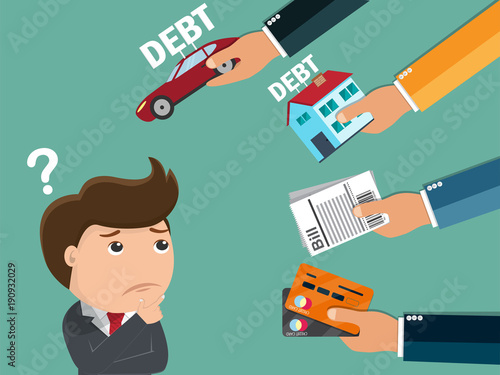 Business man thinking about debt , Business concept - Vector illustration Fototapeta