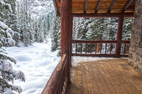 Photo Alpine Teahouse Log Cabin and Snowy Forest Background on Plain of Six Glaciers a