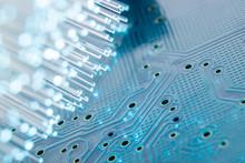 Optical Fibers With An Electronic Printed Circuit Board.