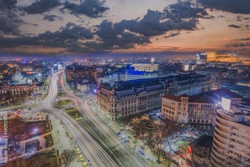 Poster Chicago Bucharest city center - aerial view