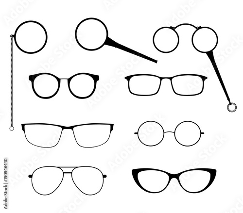 c27ed2359f4 Glasses silhouette vector set. Frames to modern sunglasses with different  styles as well as vintage eyeglasses - lorgnette
