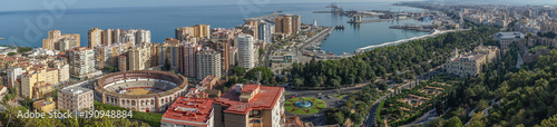 Poster Cappuccino Panorama City skyline and harbour, sea port, bullring of Malaga overlooking the sea ocean in Malaga, Spain, Europe