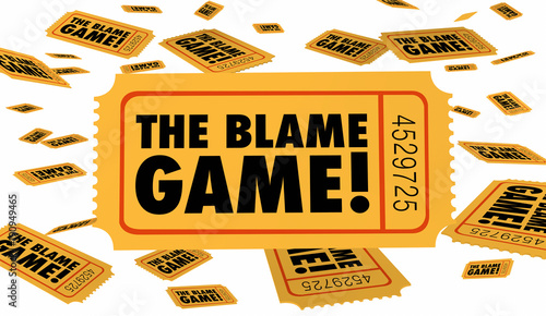 The Blame Game Shift Responsibility Fault Tickets 3d Illustration Wallpaper Mural