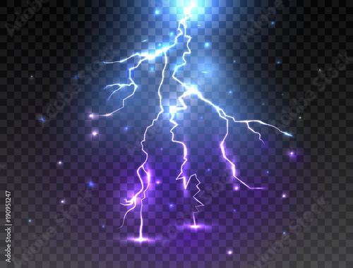 Realistic Lightning On Transparent Background Glowing Effect