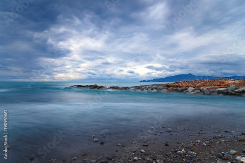 Mouth of the river Entella - Chiavari - Lavagna - Long exposure Poster
