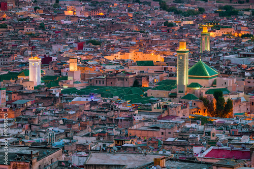 Cuadros en Lienzo Morroco, Fez - View over the old town (medina) from the Bab Guissa gate