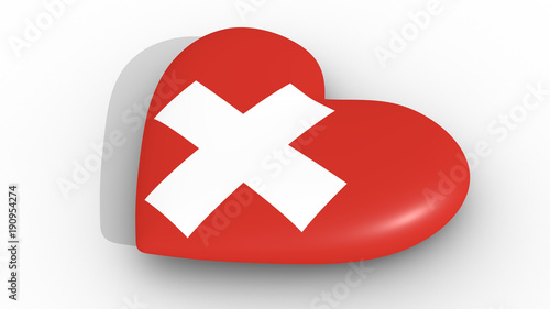 Fotografie, Obraz  Heart in the colors of Switzerland flag, on a white background, 3d rendering side
