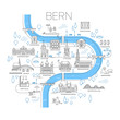 Illustrated map of Bern, Switzerland.