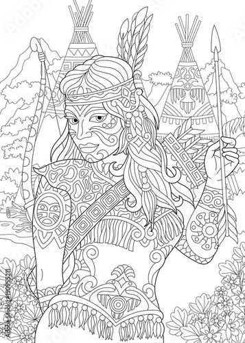 Coloring Page Adult Coloring Book Native American Indian Woman Navajo Ethnicity Cherokee Nation Boho Tribal Culture Antistress Freehand Sketch Drawing With Doodle And Zentangle Elements Stock Vector Adobe Stock