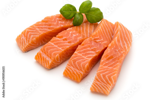 In de dag Vis Fresh salmon fillet with basil on the white background.