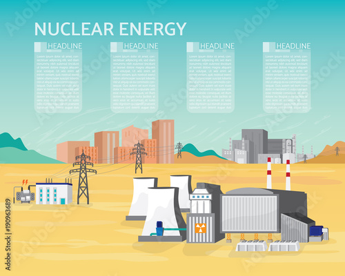 nuclear energy, nuclear power plant with boiler and steam turbine ...