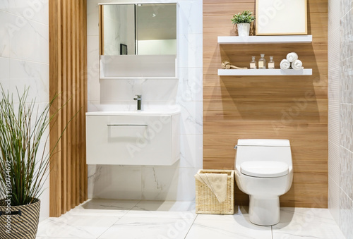 Fotografía  Modern spacious bathroom with bright tiles with toilet and sink