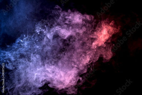 Poster Fumee Cloud of smoke of purple, red and blue colors on black isolated background. Background from the smoke of vape