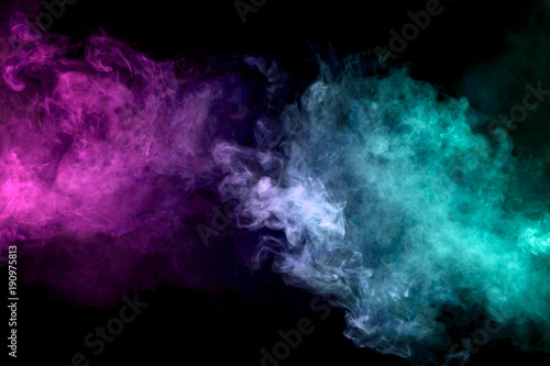 Fotobehang Rook Pink and blue cloud of vape smoke on black isolated background