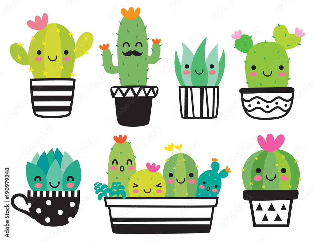 Fototapeta Cute succulent or cactus plant with happy face vector illustration set.