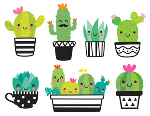 Slatka biljka sukulenta ili kaktusa sa setom vektorskih ilustracija sretnog lica.