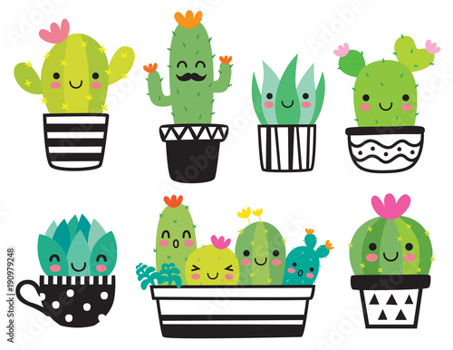 Fototapeta Cute succulent or cactus plant with happy face vector illustration set