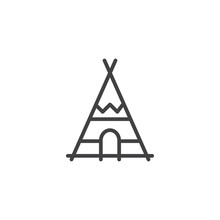 Indian Tepee Line Icon, Outline Vector Sign, Linear Style Pictogram Isolated On White. Wigwam Symbol, Logo Illustration. Editable Stroke