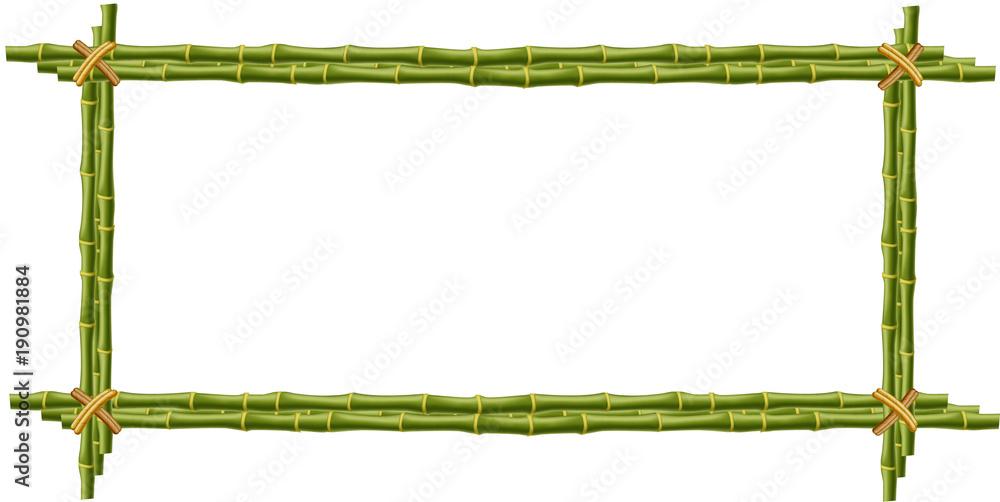 Bambusowy mockup, granica, szablon, fotografii rama na białym tle. <span>plik: #190981884 | autor: Ekaterina</span>