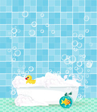 Bathtub With Foam, Bubbles, Rubber Duck On Blue Tiled Background.
