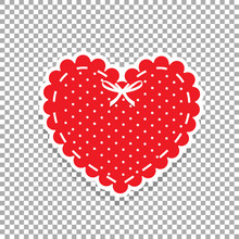 Cute Red Lacy Heart With White...