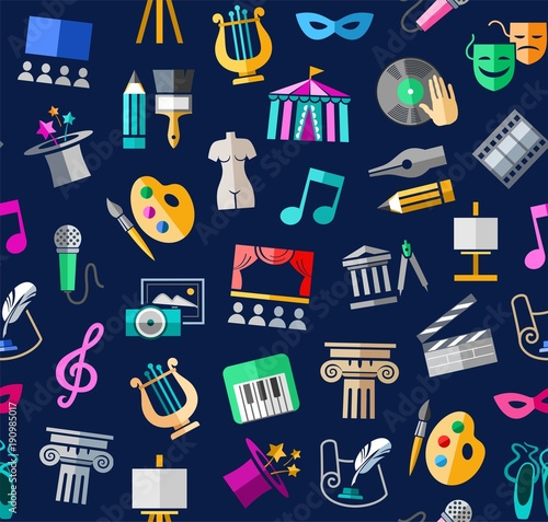 Fotografiet  Culture and art, seamless background, color, blue, vector