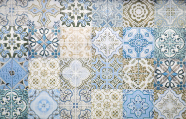 Vintage ceramic tiles wall ...