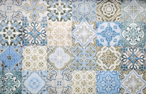 Poster Retro Vintage ceramic tiles wall decoration.Turkish ceramic tiles wall background