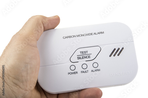 Vászonkép Carbon monoxide alarm for safe sleep on white