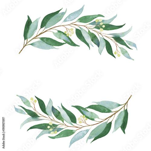 Wedding green twig. Watercolor illustration. Wallpaper Mural
