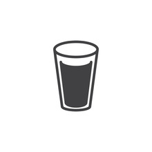 Milk Glass Icon Vector, Filled...