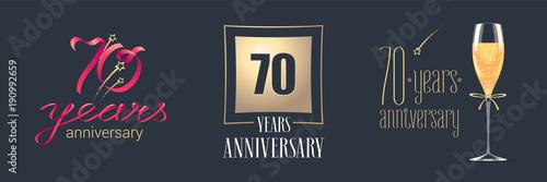 Photographie  70 years anniversary vector icon, logo set
