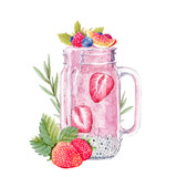 Watercolor smoothie illustration - 190992882
