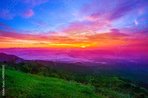 Spoed Foto op Canvas Noord Europa Mountain, Mountain Range, European Alps, Sunset, Springtime