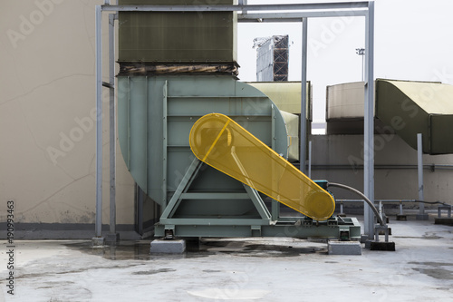 Yellow safety guard motor of air blower Wallpaper Mural