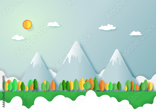 Deurstickers Lichtblauw Green eco friendly and nature forest landscape background.Paper art of ecology and environment conservation creative idea concept design.Vector illustration.