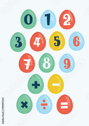 Stickers with numbers, drawing on the different colors eggs. Division sign, multiplication, plus, equals. Math collection for education #190997234
