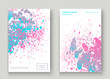 Pastel pink cyan explosion paint splatter artistic cover design. Fluid gradient dust splash texture background. Trendy creative template vector Cover Report Catalog Brochure Flyer Product