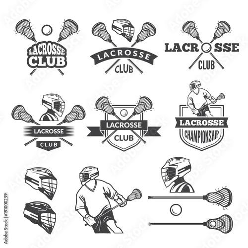 Fotografia  Labels of lacrosse club. Vector monochrome pictures set
