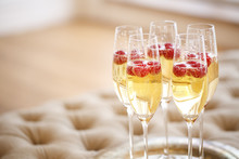 Champagne Glasses On Silver Tray. Party Concept
