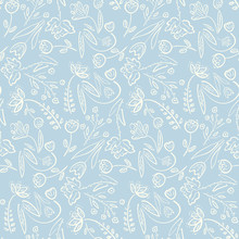 Tender Blue Spring Linear Hand Drawn Floral Seamless Pattern. Romantic White Meadow Flowers On Blue Background Texture For Textile, Wrapping Paper, Cover, Surface, Wallpaper