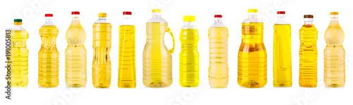 In de dag Zonnebloem Set of Bottles of sunflower oil isolated on white background.