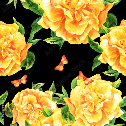 Tapeta Żółty pąk róży na czarnym tle z motylem